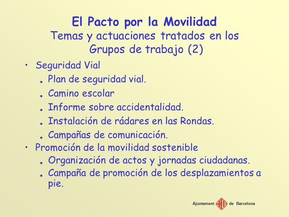 Ajuntamentde Barcelona El Pacto por la Movilidad Temas y actuaciones tratados en los Grupos de trabajo (2) Seguridad Vial. Plan de seguridad vial.. Ca