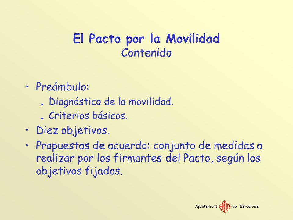 Ajuntamentde Barcelona El Pacto por la Movilidad Contenido Preámbulo:. Diagnóstico de la movilidad.. Criterios básicos. Diez objetivos. Propuestas de