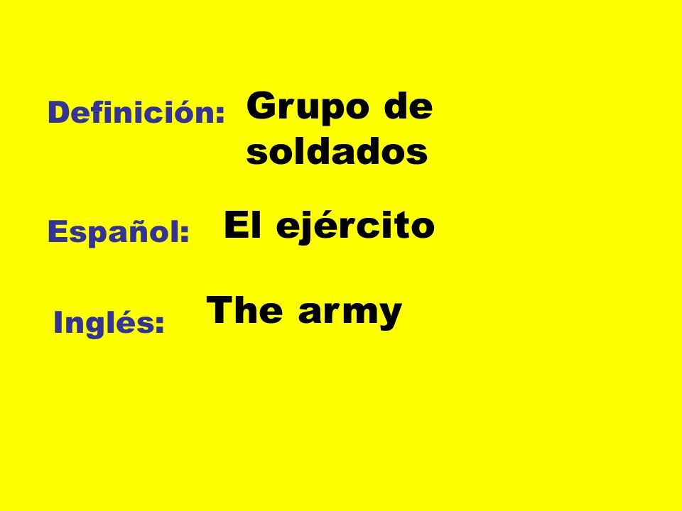 Definición: Español: Inglés: Grupo de soldados El ejército The army