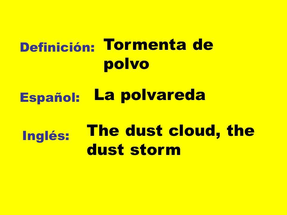 Definición: Español: Inglés: Tormenta de polvo The dust cloud, the dust storm La polvareda