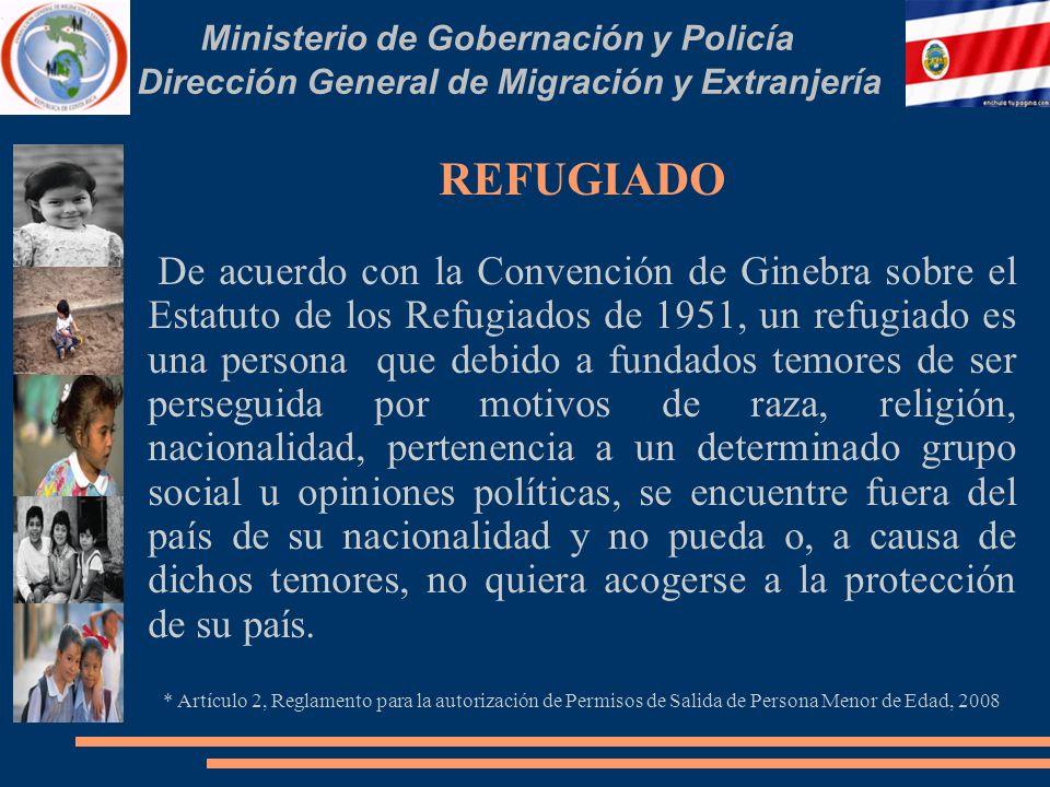 Ministerio de Gobernación y Policía Dirección General de Migración y Extranjería REFUGIADO De acuerdo con la Convención de Ginebra sobre el Estatuto d