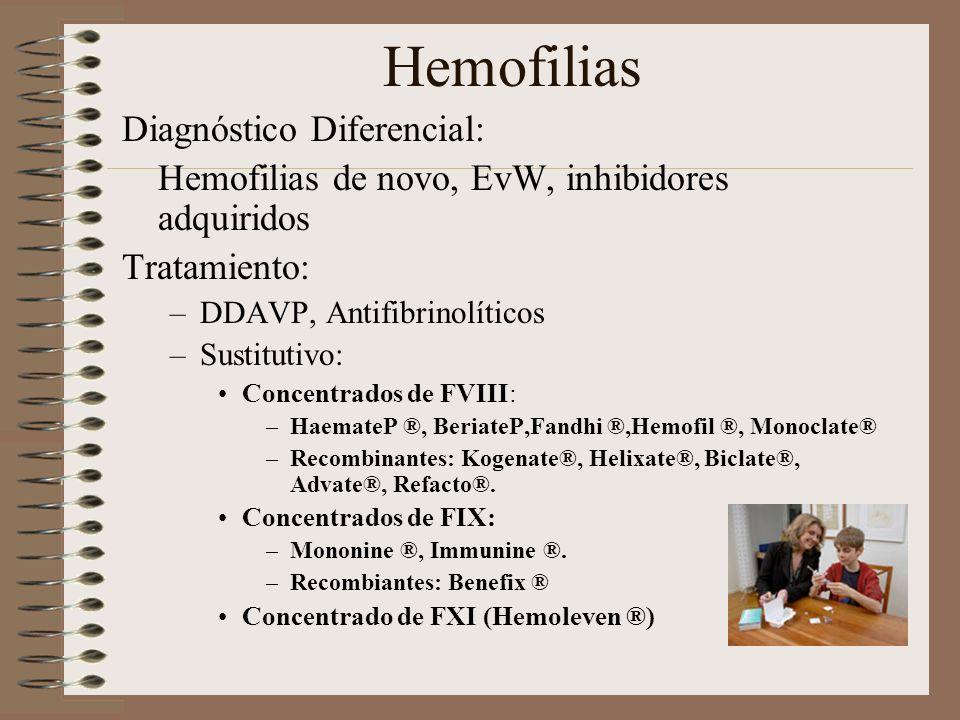 Hemofilias Diagnóstico Diferencial: Hemofilias de novo, EvW, inhibidores adquiridos Tratamiento: –DDAVP, Antifibrinolíticos –Sustitutivo: Concentrados