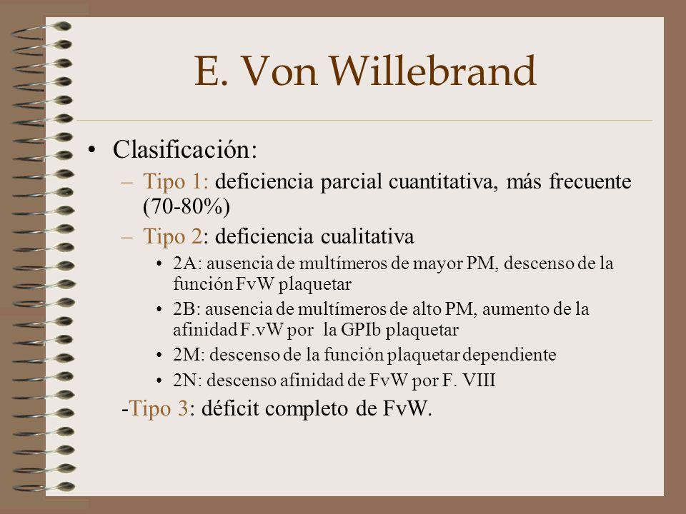 E. Von Willebrand Clasificación: –Tipo 1: deficiencia parcial cuantitativa, más frecuente (70-80%) –Tipo 2: deficiencia cualitativa 2A: ausencia de mu