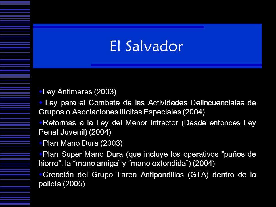 El Salvador Ley Antimaras (2003) Ley para el Combate de las Actividades Delincuenciales de Grupos o Asociaciones Ilícitas Especiales (2004) Reformas a