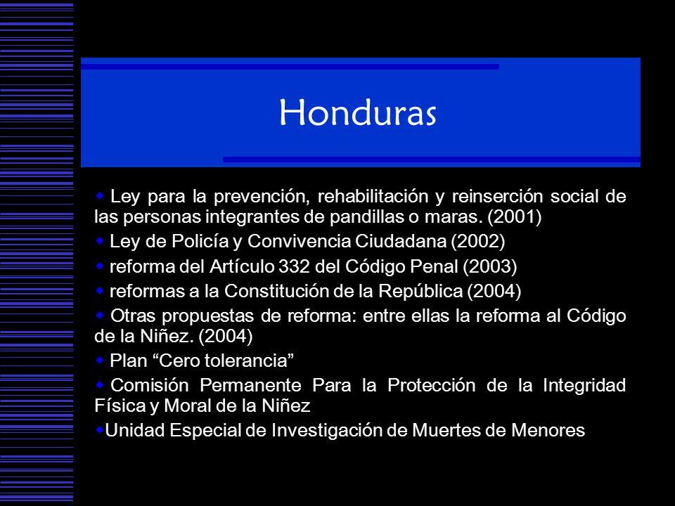 Honduras Ley para la prevención, rehabilitación y reinserción social de las personas integrantes de pandillas o maras. (2001) Ley de Policía y Convive
