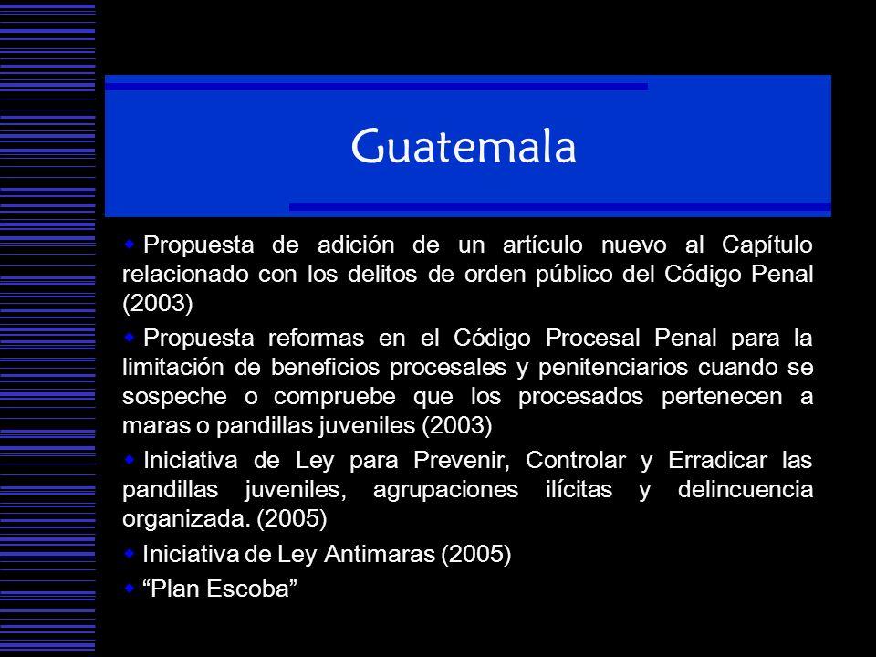 Guatemala Propuesta de adición de un artículo nuevo al Capítulo relacionado con los delitos de orden público del Código Penal (2003) Propuesta reforma