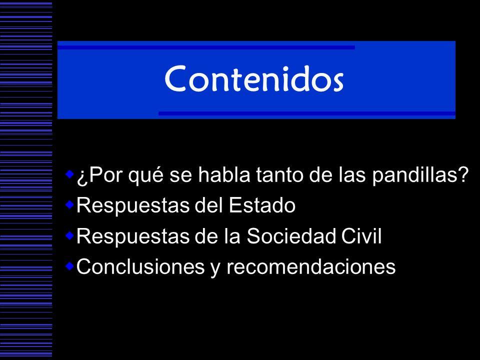 Contenidos ¿Por qué se habla tanto de las pandillas? Respuestas del Estado Respuestas de la Sociedad Civil Conclusiones y recomendaciones