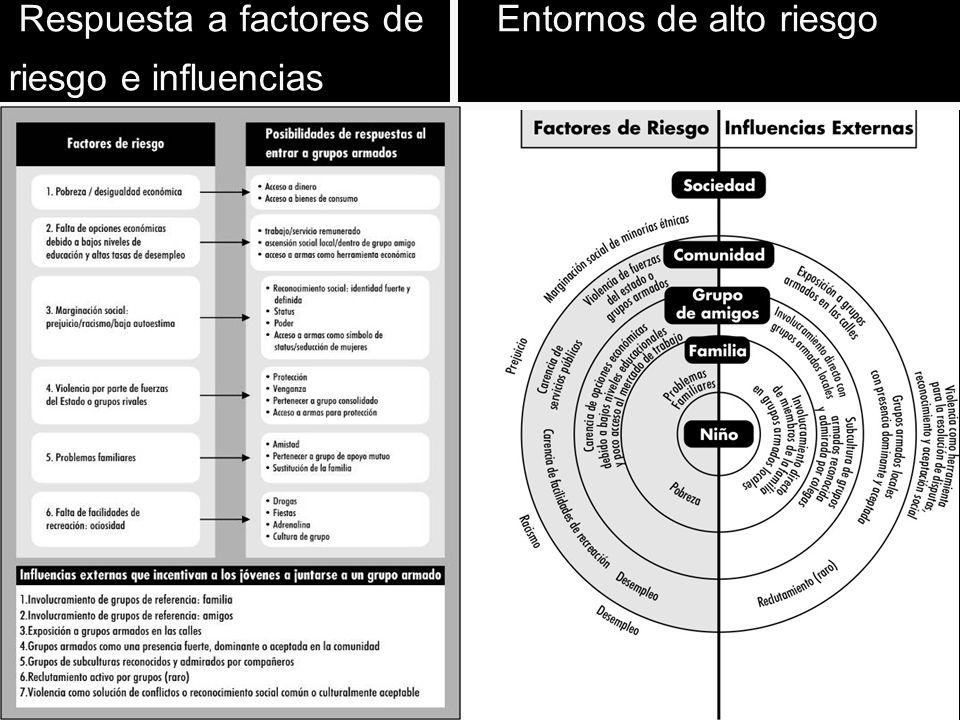 Respuesta a factores de Entornos de alto riesgo riesgo e influencias