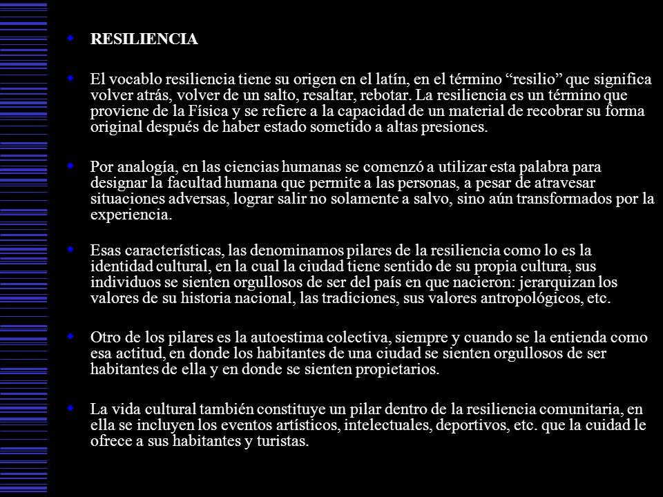 RESILIENCIA El vocablo resiliencia tiene su origen en el latín, en el término resilio que significa volver atrás, volver de un salto, resaltar, rebota