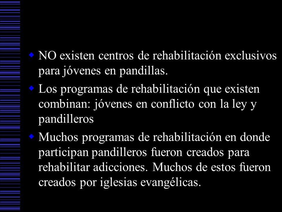 NO existen centros de rehabilitación exclusivos para jóvenes en pandillas. Los programas de rehabilitación que existen combinan: jóvenes en conflicto