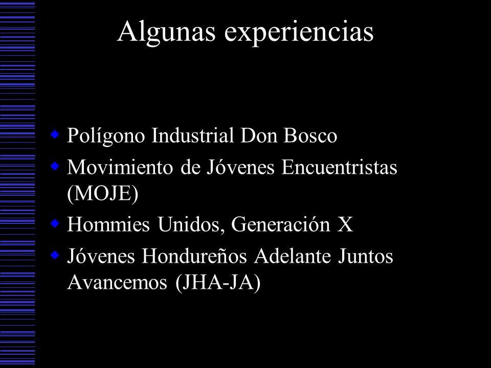 Algunas experiencias Polígono Industrial Don Bosco Movimiento de Jóvenes Encuentristas (MOJE) Hommies Unidos, Generación X Jóvenes Hondureños Adelante