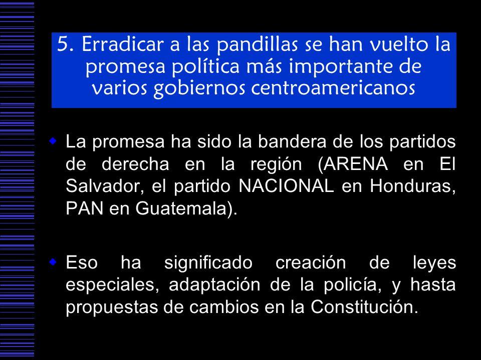 5. Erradicar a las pandillas se han vuelto la promesa política más importante de varios gobiernos centroamericanos La promesa ha sido la bandera de lo