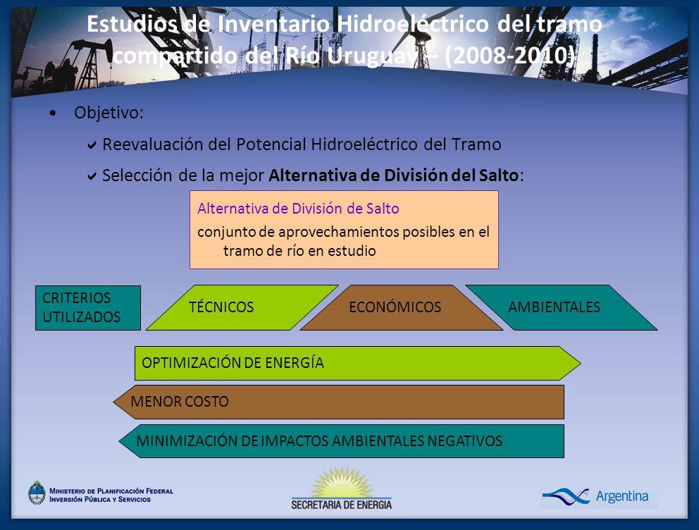 Estudios de Inventario Hidroeléctrico del tramo compartido del Río Uruguay – (2008-2010) Objetivo: Reevaluación del Potencial Hidroeléctrico del Tramo Selección de la mejor Alternativa de División del Salto: Alternativa de División de Salto conjunto de aprovechamientos posibles en el tramo de río en estudio OPTIMIZACIÓN DE ENERGÍA MENOR COSTO MINIMIZACIÓN DE IMPACTOS AMBIENTALES NEGATIVOS TÉCNICOSAMBIENTALES CRITERIOS UTILIZADOS ECONÓMICOS