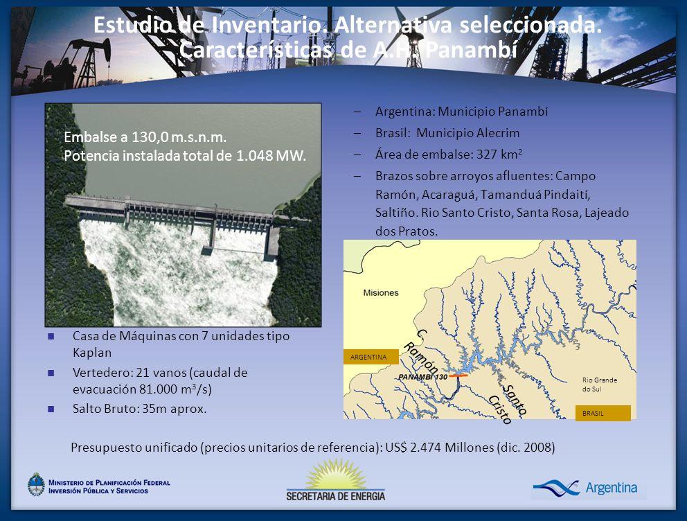 –Argentina: Municipio Panambí –Brasil: Municipio Alecrim –Área de embalse: 327 km 2 –Brazos sobre arroyos afluentes: Campo Ramón, Acaraguá, Tamanduá P