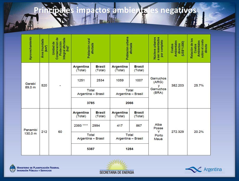 Principales impactos ambientales negativos
