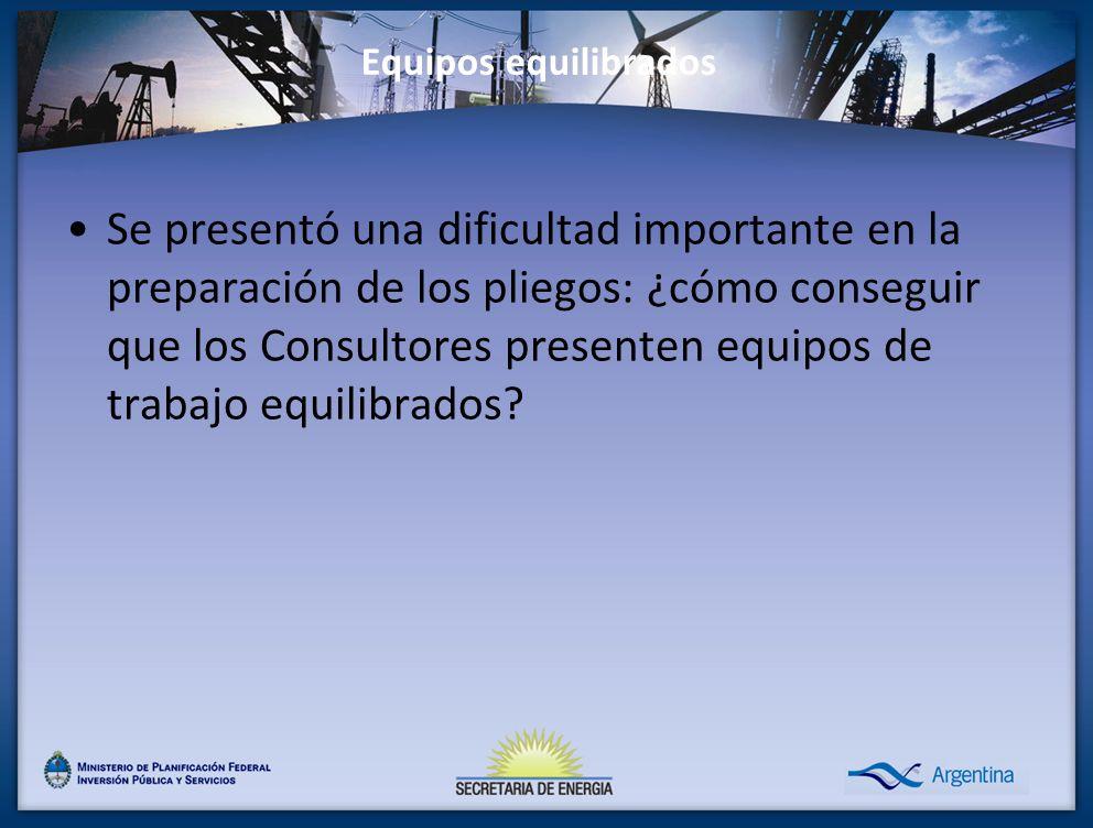 Equipos equilibrados Se presentó una dificultad importante en la preparación de los pliegos: ¿cómo conseguir que los Consultores presenten equipos de trabajo equilibrados?