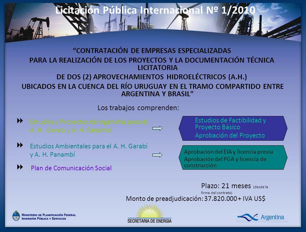 CONTRATACIÓN DE EMPRESAS ESPECIALIZADAS PARA LA REALIZACIÓN DE LOS PROYECTOS Y LA DOCUMENTACIÓN TÉCNICA LICITATORIA DE DOS (2) APROVECHAMIENTOS HIDROELÉCTRICOS (A.H.) UBICADOS EN LA CUENCA DEL RÍO URUGUAY EN EL TRAMO COMPARTIDO ENTRE ARGENTINA Y BRASIL Licitación Pública Internacional Nº 1/2010 Estudios y Proyectos de Ingeniería para el A.