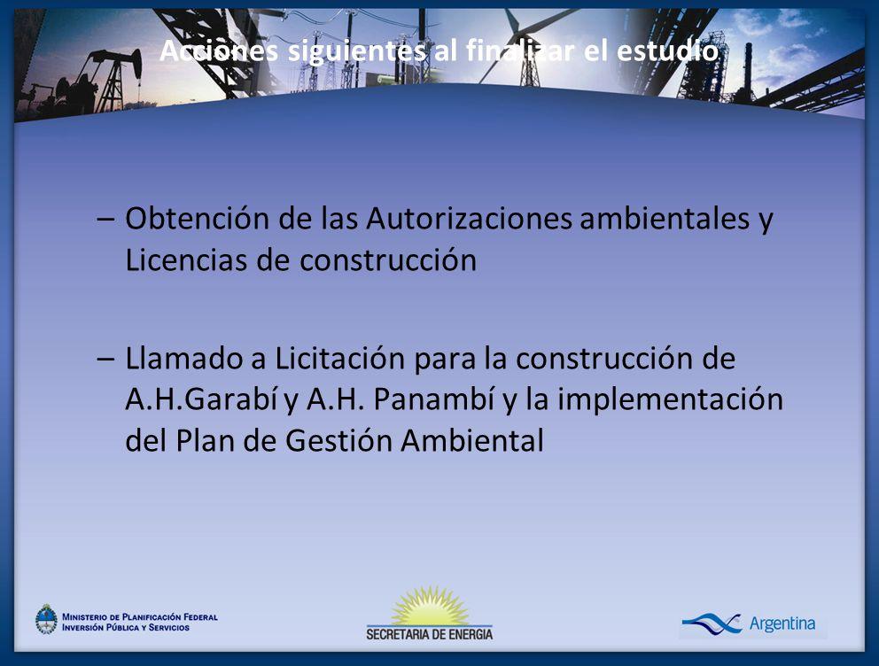 Acciones siguientes al finalizar el estudio –Obtención de las Autorizaciones ambientales y Licencias de construcción –Llamado a Licitación para la con