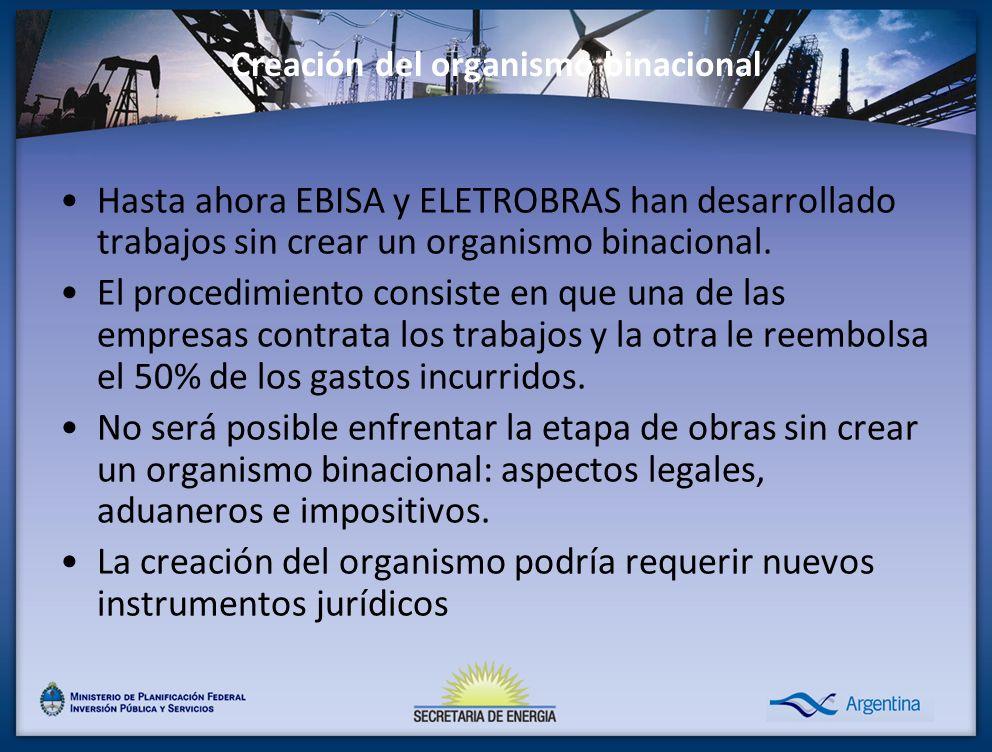 Creación del organismo binacional Hasta ahora EBISA y ELETROBRAS han desarrollado trabajos sin crear un organismo binacional. El procedimiento consist