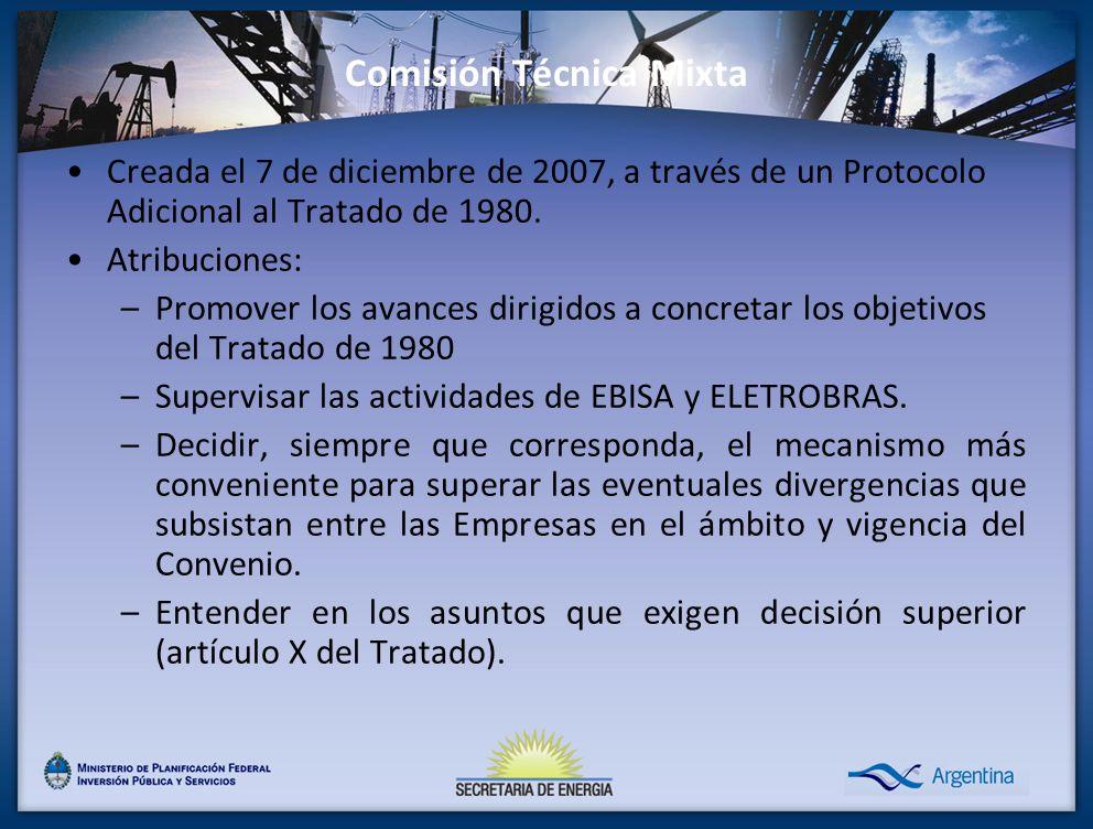 Comisión Técnica Mixta Creada el 7 de diciembre de 2007, a través de un Protocolo Adicional al Tratado de 1980. Atribuciones: –Promover los avances di