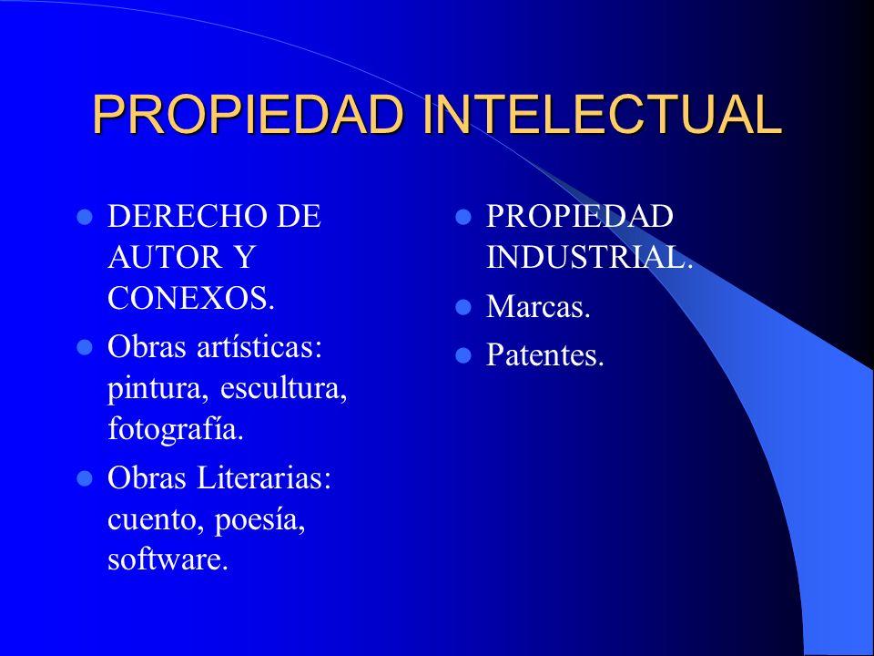 PROPIEDAD INTELECTUAL DERECHO DE AUTOR Y CONEXOS. Obras artísticas: pintura, escultura, fotografía. Obras Literarias: cuento, poesía, software. PROPIE