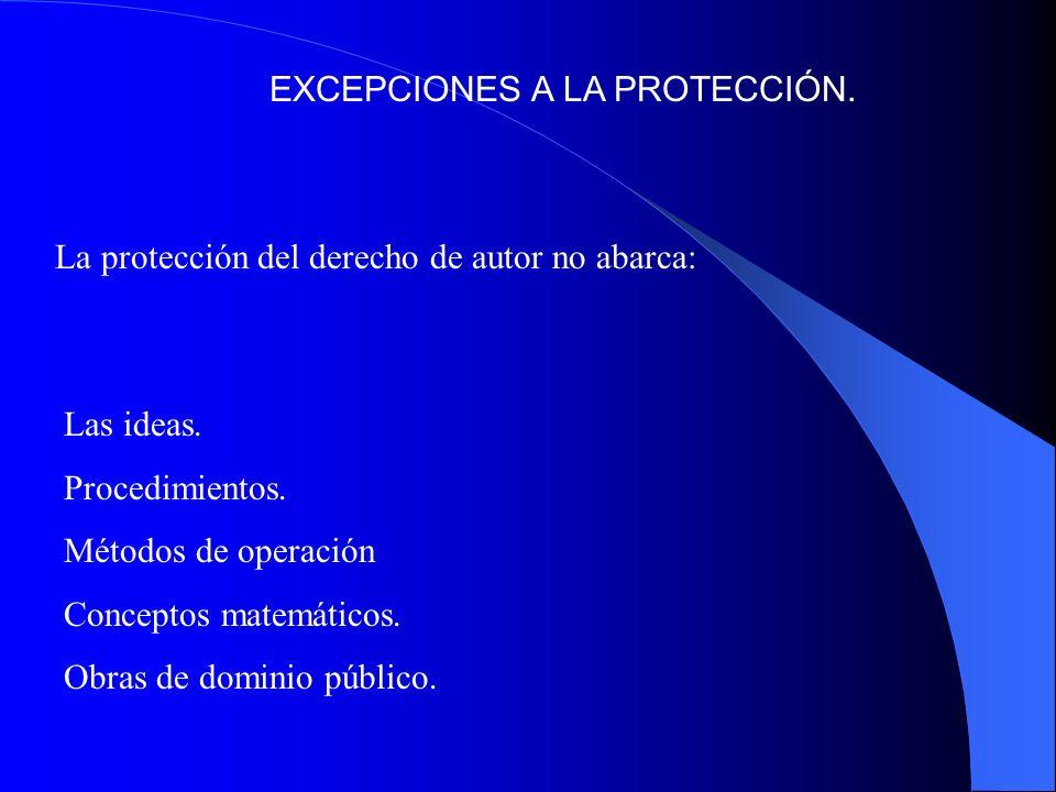 EXCEPCIONES A LA PROTECCIÓN. La protección del derecho de autor no abarca: Las ideas. Procedimientos. Métodos de operación Conceptos matemáticos. Obra