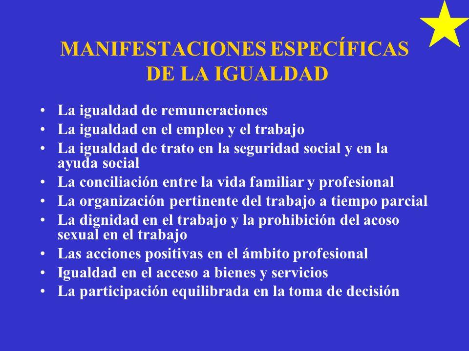 MANIFESTACIONES ESPECÍFICAS DE LA IGUALDAD La igualdad de remuneraciones La igualdad en el empleo y el trabajo La igualdad de trato en la seguridad so