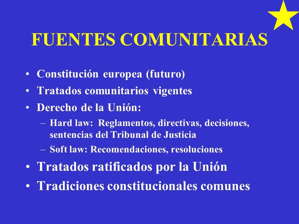 FUENTES COMUNITARIAS Constitución europea (futuro) Tratados comunitarios vigentes Derecho de la Unión: –Hard law: Reglamentos, directivas, decisiones,