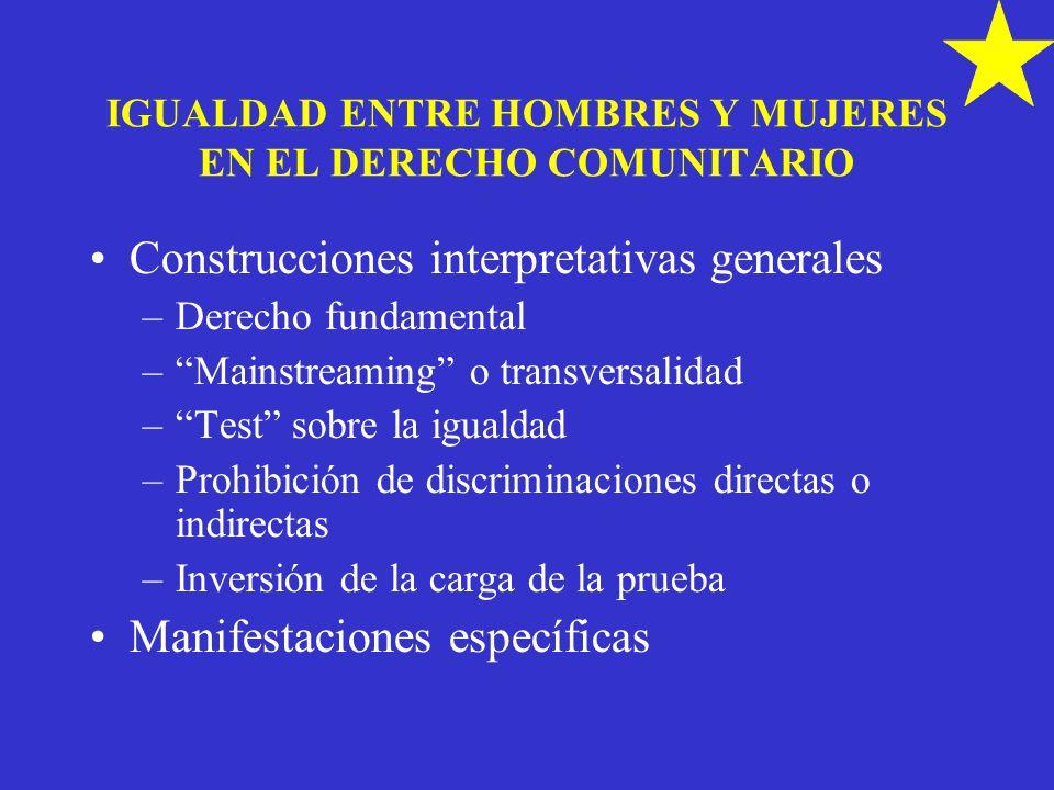 IGUALDAD ENTRE HOMBRES Y MUJERES EN EL DERECHO COMUNITARIO Construcciones interpretativas generales –Derecho fundamental –Mainstreaming o transversali