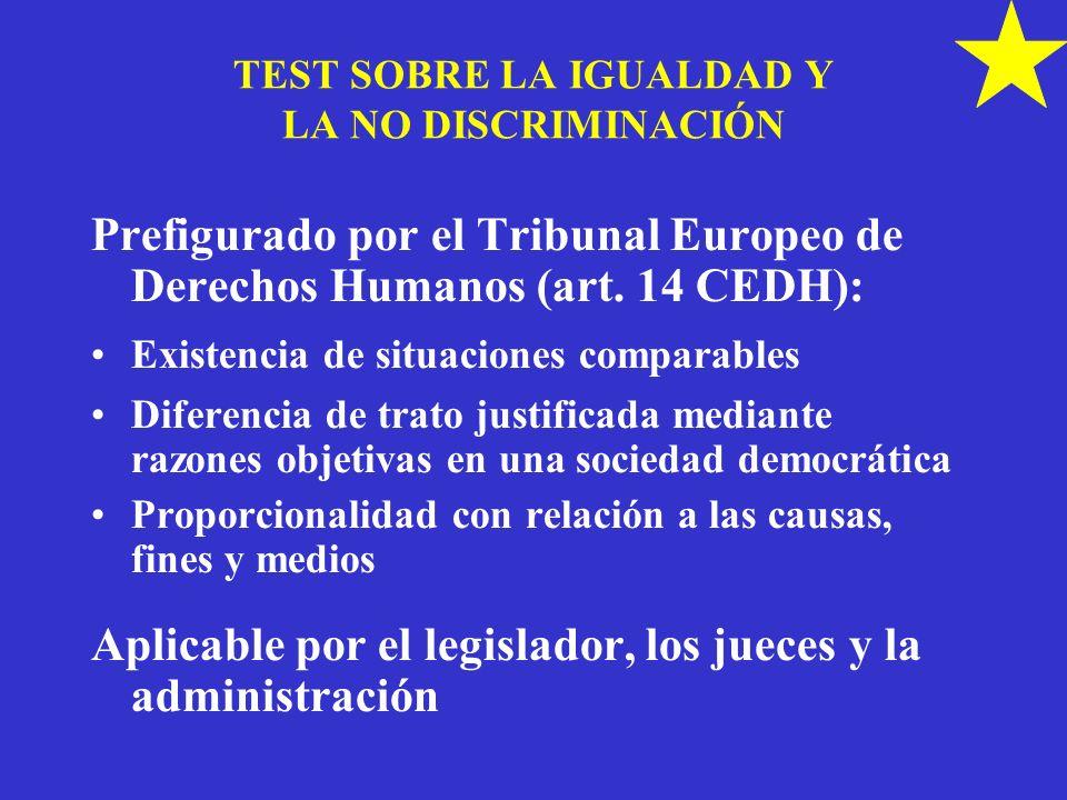 TEST SOBRE LA IGUALDAD Y LA NO DISCRIMINACIÓN Prefigurado por el Tribunal Europeo de Derechos Humanos (art. 14 CEDH): Existencia de situaciones compar