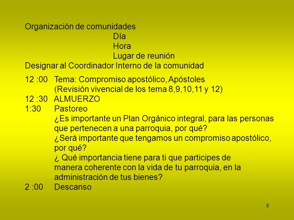 8 Organización de comunidades Día Hora Lugar de reunión Designar al Coordinador Interno de la comunidad 12 :00Tema: Compromiso apostólico, Apóstoles (