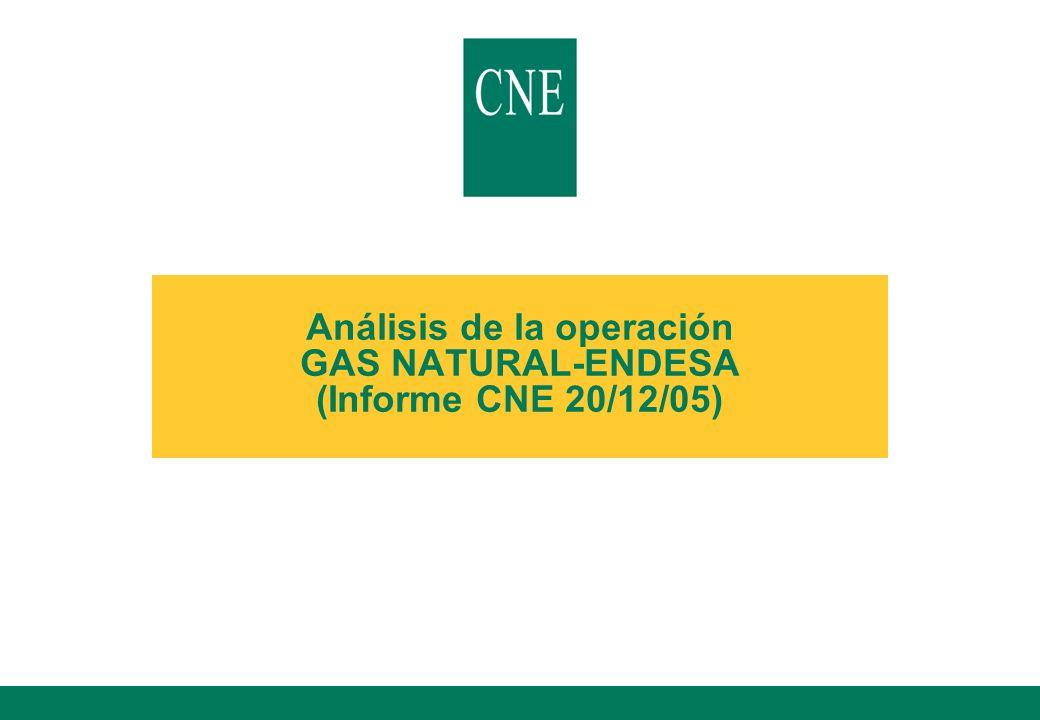 12 Descripción de la operación lNotificación al SDC el 12 de septiembre de 2005 lAdquisición del control de ENDESA por parte de GAS NATURAL, mediante OPA sobre el 100% del capital social de ENDESA Oferta de 21,3 euros por acción de ENDESA 34,5% en metálico 65,5% en acciones de nueva emisión de GAS NATURAL Por cada acción de ENDESA: 7,34 en efectivo y 0,560 acciones de nueva emisión de GAS NATURAL lPresentación voluntaria de un compromiso de enajenación de activos y otras condiciones orientadas a resolver posibles problemas de competencia Acuerdo con Iberdrola Otros compromisos lOperación de dimensión nacional (no alcanza umbrales de cifras de negocio previstos en Reglamento CE nº139/2004) más de 2/3 del volumen de negocios comunitario de cada una de las empresas afectadas se realiza en España