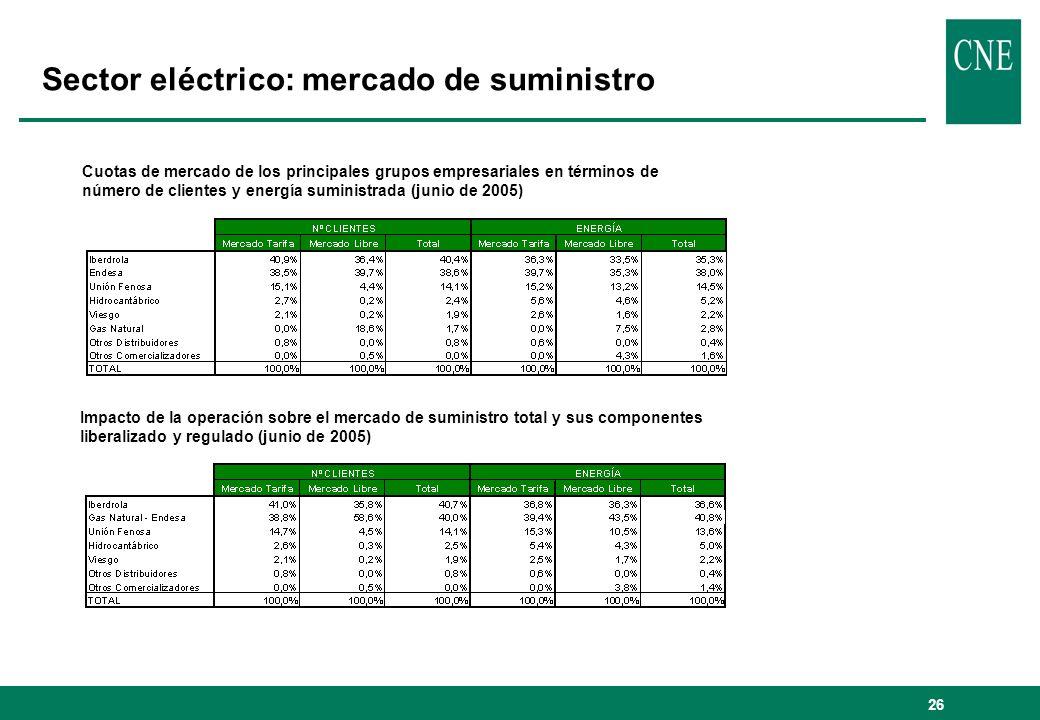 27 Efectos horizontales: la posición de GAS NATURAL CUOTAS DE MERCADO DEL GRUPO GAS NATURAL (2004): ABASTECIMIENTO GAS ESPAÑA DISTRIBUCIÓN GAS MERCADO DE GENERACIÓN ELÉCTRICA DISTRIBUCIÓN DE ELECTRICIDAD COMERCIALIZACIÓN DE ELECTRICIDAD 70,3% (1) 88,1 % 86,4 %52,4 %48,2 % 2,9 % (2) 0 % 8 % COMERCIALIZACIÓN GAS Segmento Doméstico Segmento Industrial Generación Eléctrica (1) Incluye autoconsumos (2) Cuota en energía producida Septiembre-2004 – Agosto 2005 Flujo físico de energía Flujo comercial