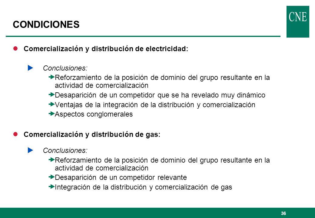 37 CONDICIONES lComercialización y distribución : Condiciones Alternativa A: Mantenimiento de las actividades de distribución y comercialización en el mismo grupo empresarial pero sin posibilidad de comercializar temporalmente en las zonas donde el mismo tenga redes de distribución superpuestas.