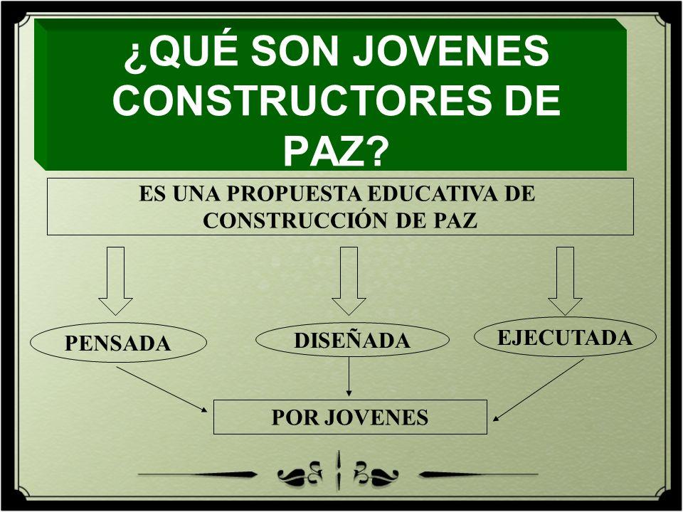 PENSADA DISEÑADA EJECUTADA POR JOVENES ¿QUÉ SON JOVENES CONSTRUCTORES DE PAZ? ES UNA PROPUESTA EDUCATIVA DE CONSTRUCCIÓN DE PAZ