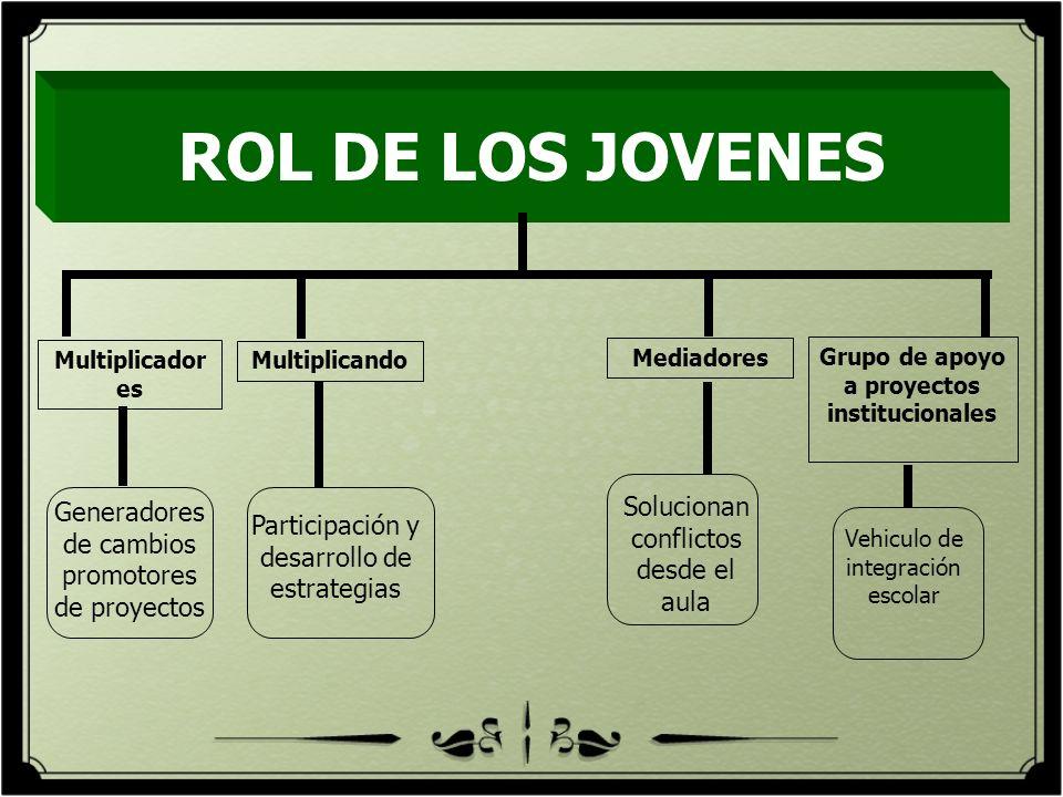 ROL DE LOS JOVENES Multiplicador es Multiplicando Grupo de apoyo a proyectos institucionales Generadores de cambios promotores de proyectos Participac