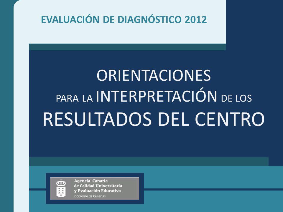 EVALUACIÓN DE DIAGNÓSTICO 2012 ORIENTACIONES PARA LA INTERPRETACIÓN DE LOS RESULTADOS DEL CENTRO
