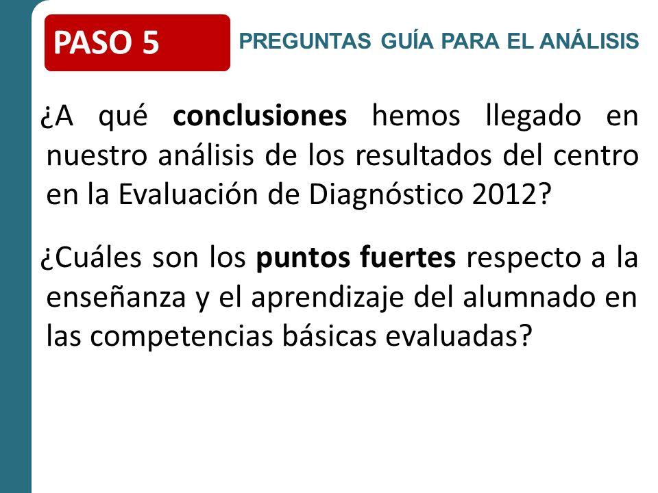 ¿A qué conclusiones hemos llegado en nuestro análisis de los resultados del centro en la Evaluación de Diagnóstico 2012.