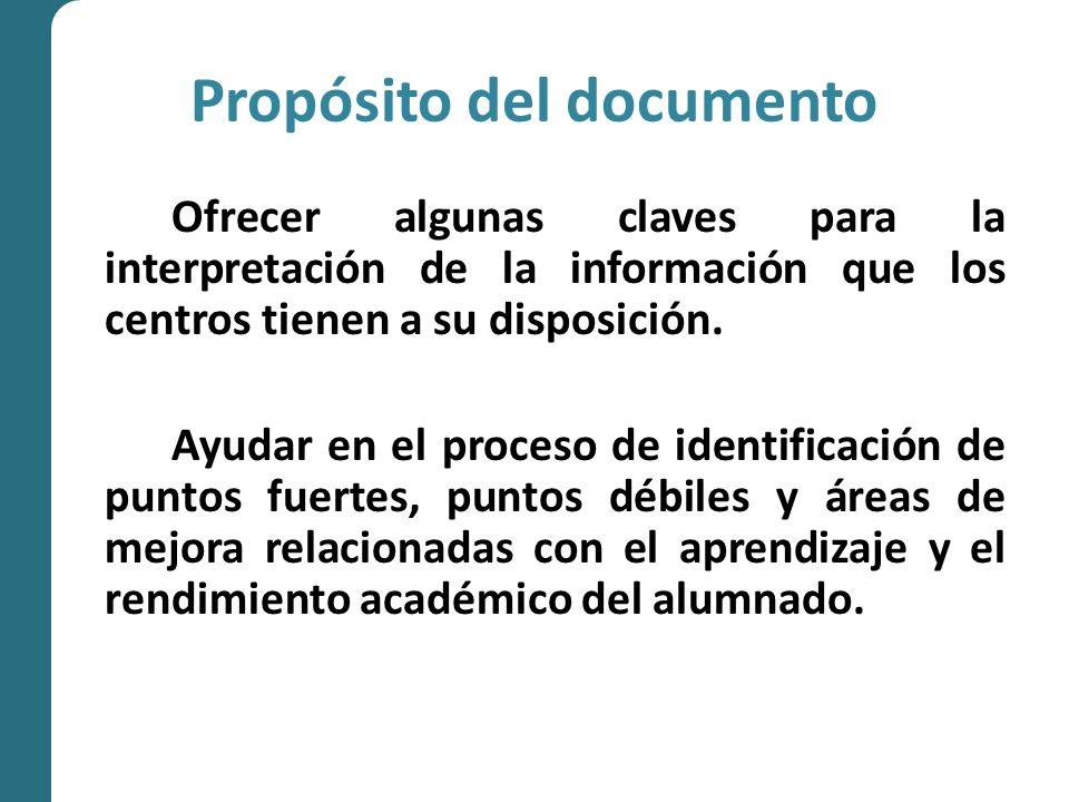 Propósito del documento Ofrecer algunas claves para la interpretación de la información que los centros tienen a su disposición.