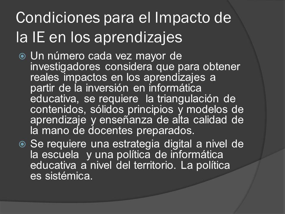 Condiciones para el Impacto de la IE en los aprendizajes Un número cada vez mayor de investigadores considera que para obtener reales impactos en los