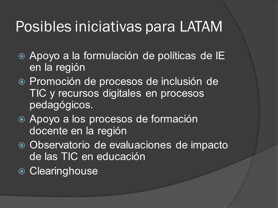 Posibles iniciativas para LATAM Apoyo a la formulación de políticas de IE en la región Promoción de procesos de inclusión de TIC y recursos digitales