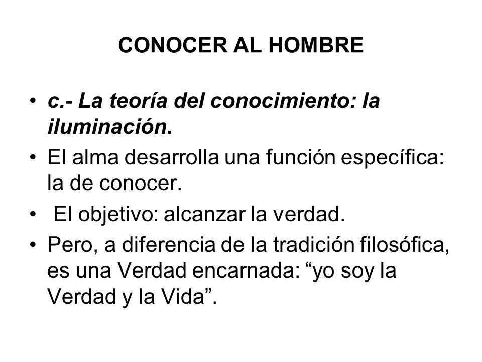 CONOCER AL HOMBRE c.- La teoría del conocimiento: la iluminación. El alma desarrolla una función específica: la de conocer. El objetivo: alcanzar la v