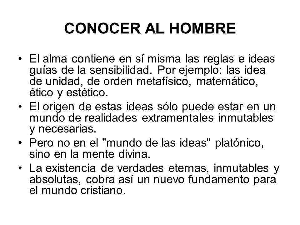 CONOCER AL HOMBRE El alma contiene en sí misma las reglas e ideas guías de la sensibilidad. Por ejemplo: las idea de unidad, de orden metafísico, mate