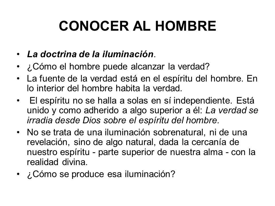 CONOCER AL HOMBRE La doctrina de la iluminación. ¿Cómo el hombre puede alcanzar la verdad? La fuente de la verdad está en el espíritu del hombre. En l