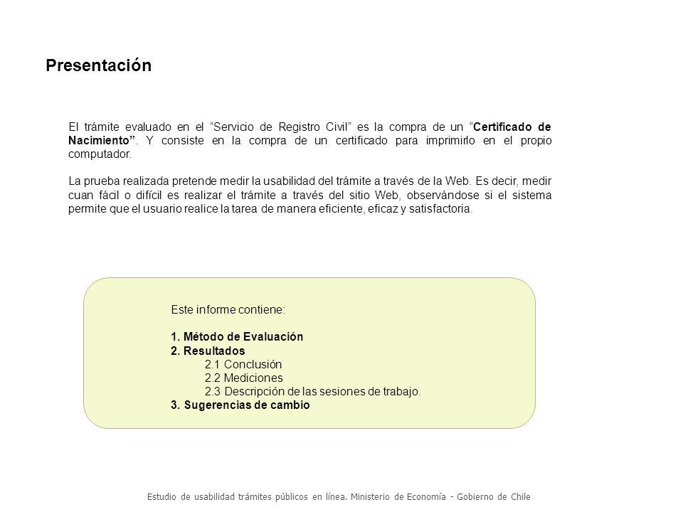 Estudio de usabilidad trámites públicos en línea.Ministerio de Economía - Gobierno de Chile 1.