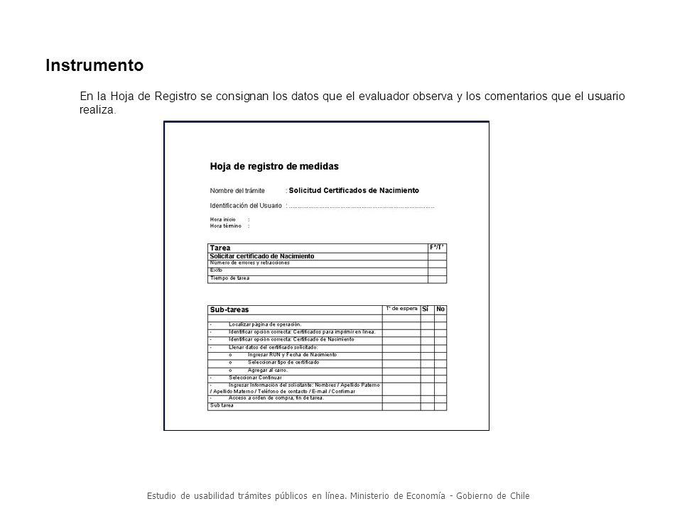 Estudio de usabilidad trámites públicos en línea.Ministerio de Economía - Gobierno de Chile 2.
