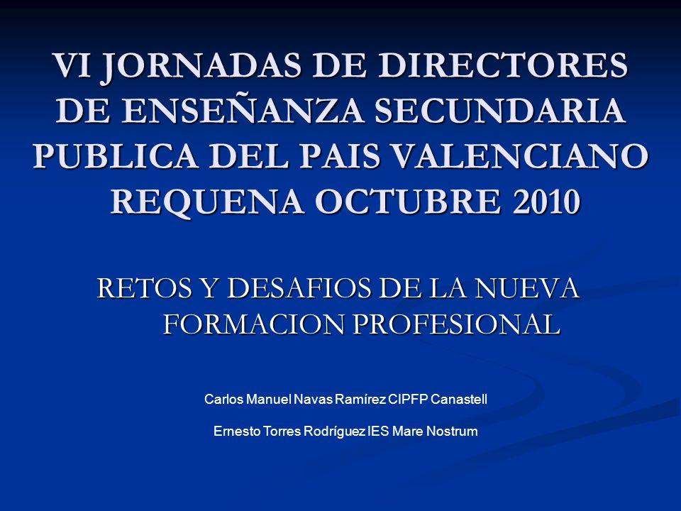 VI JORNADAS DIRECTORES REQUENA OCTUBRE 2010 LA FORMACION PROFESIONAL EN ESPAÑA 10/11 (AVANCE) TOTAL FORMACION PROFESIONAL TOTAL FORMACION PROFESIONAL PCPI 79711 7,3% PCPI 79711 7,3% GRADO MEDIO 281787 3,9% GRADO MEDIO 281787 3,9% GRADO SUPERIOR 256228 4,5% GRADO SUPERIOR 256228 4,5% DISTANCIA 30947 71,9% DISTANCIA 30947 71,9%