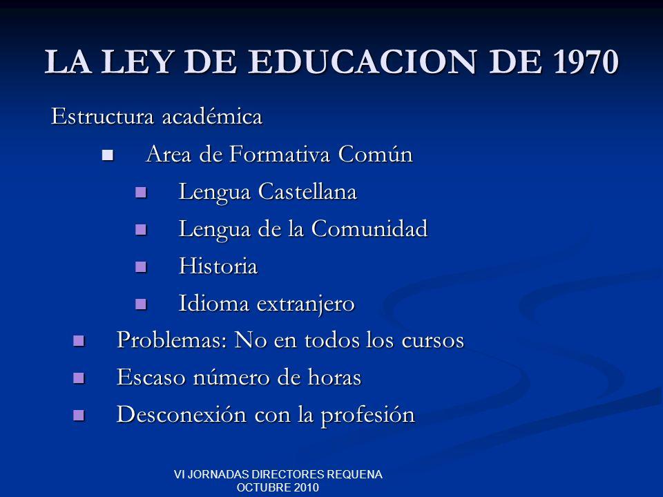 VI JORNADAS DIRECTORES REQUENA OCTUBRE 2010 LA LEY DE EDUCACION DE 1970 Estructura académica Estructura académica Area de Formativa Común Area de Form