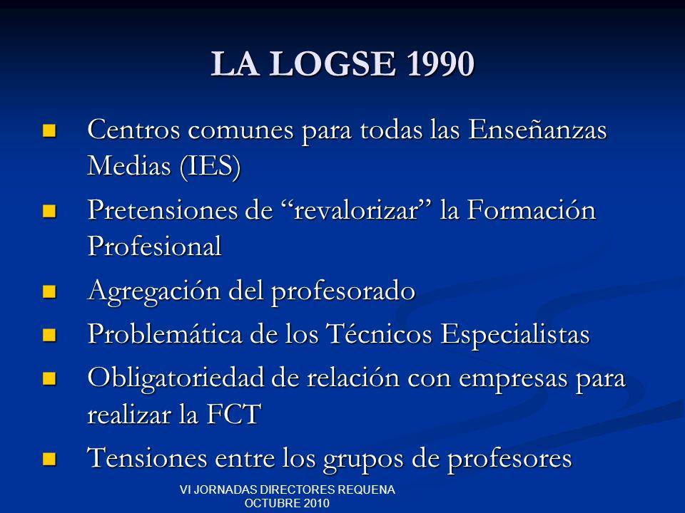 VI JORNADAS DIRECTORES REQUENA OCTUBRE 2010 LA LOGSE 1990 Centros comunes para todas las Enseñanzas Medias (IES) Centros comunes para todas las Enseña