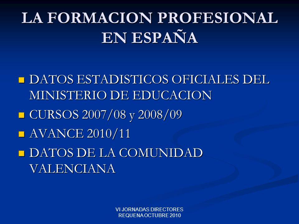VI JORNADAS DIRECTORES REQUENA OCTUBRE 2010 LA FORMACION PROFESIONAL EN ESPAÑA DATOS ESTADISTICOS OFICIALES DEL MINISTERIO DE EDUCACION DATOS ESTADIST